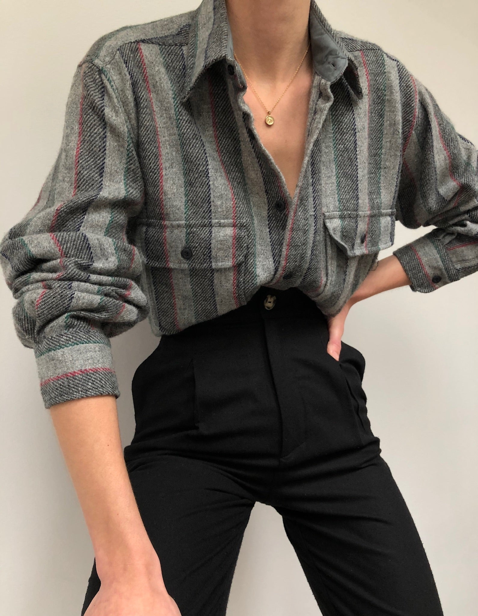Vintage Striped Wool Flannel Button Up