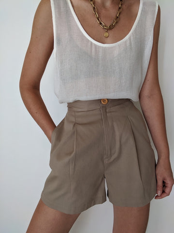 Na Nin Oliver Cotton Twill Shorts / Available in Khaki & Onyx