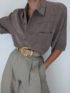 Vintage Taupe Tropical Silk Button Up