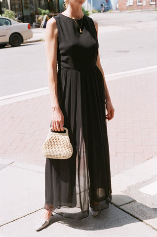Vintage Onyx Pleated Jumpsuit