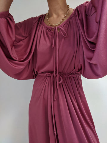 Vintage Stunning Berry Dolman Sleeve Skirt Set