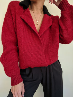 Vintage Cherry Double Breasted Wool Cardigan