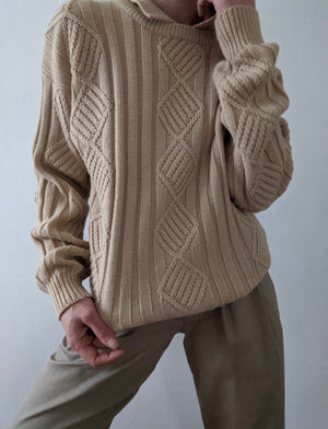 Vintage Sand Collared Knit Sweater