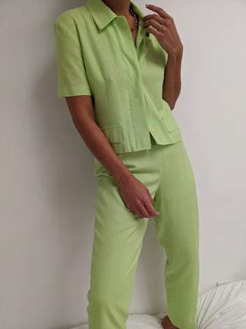 Vintage Lime Short Sleeve Suit