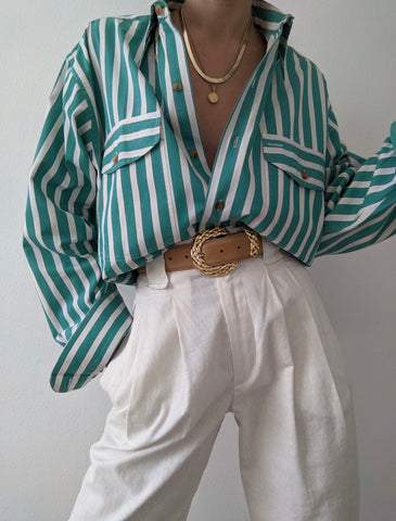 Vintage Faded Teal Striped Button Up