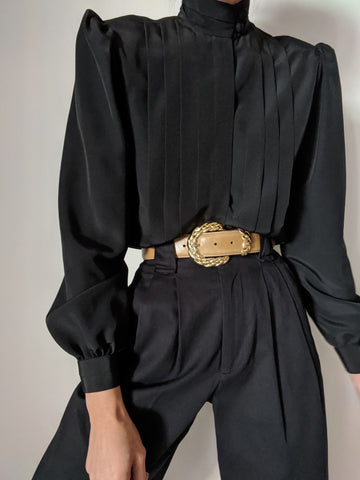 Vintage Black Pleated Balloon Sleeve Blouse