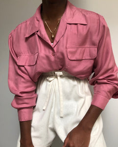 Vintage Mauve Silk Pocket Button up Blouse