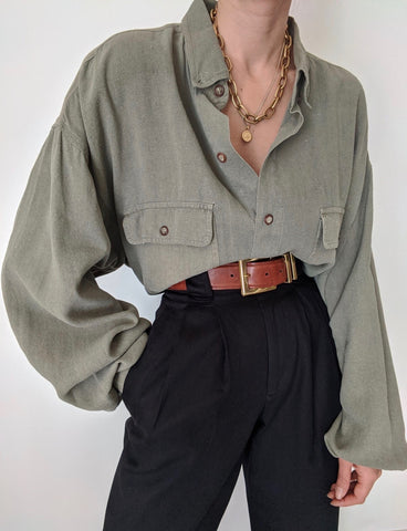 Vintage Olive Raw Silk Button Up