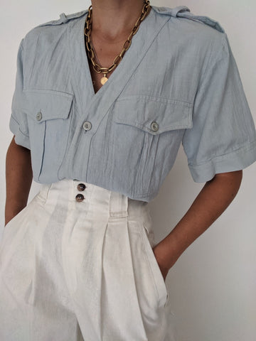 Vintage Powder Blue Washed Cotton Top