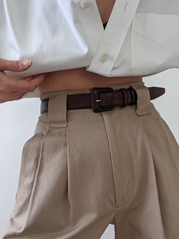 Vintage Smooth Cocoa Leather Belt