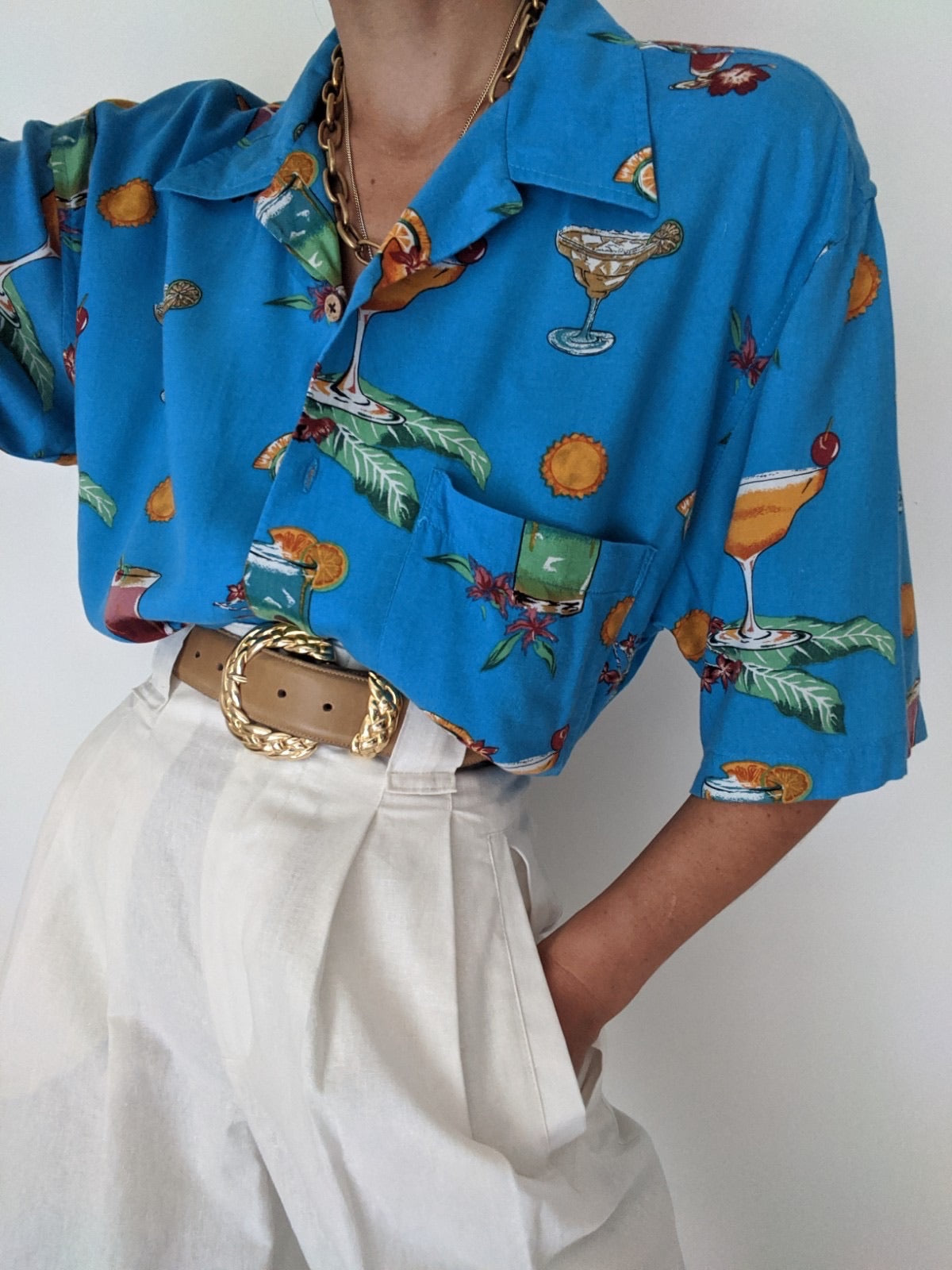 Vintage Tropical Cocktail Button Up