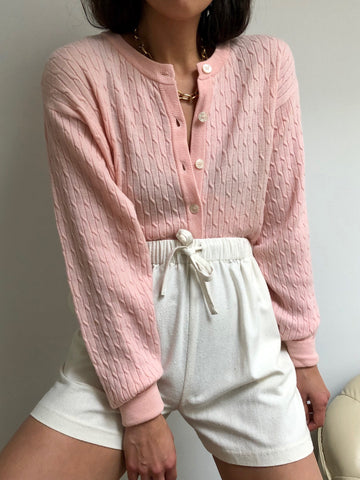 Vintage Blush Cable Knit Cardigan