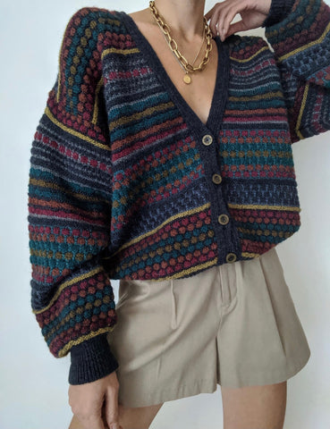 Vintage Fun Patterned Wool Cardigan