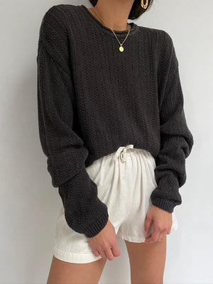 Vintage Coffee Linen Roll Neck Pullover