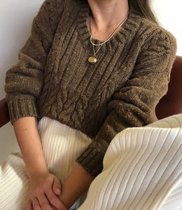 Vintage Cocoa Cable Knit Sweater