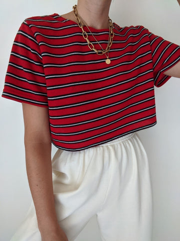 Vintage Cherry Striped Crop Tee