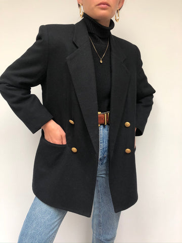 Vintage Onyx Wool Double Breasted Blazer