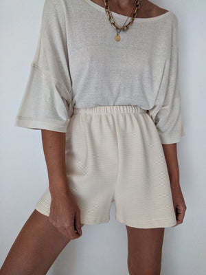 Na Nin Chloe Rippled Cotton Shorts / Available in Cream & Faded Black