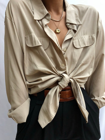 Vintage Sand Button Up Pocket Blouse