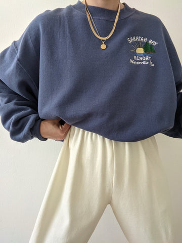 Vintage Faded Navy Embroidered Sweatshirt