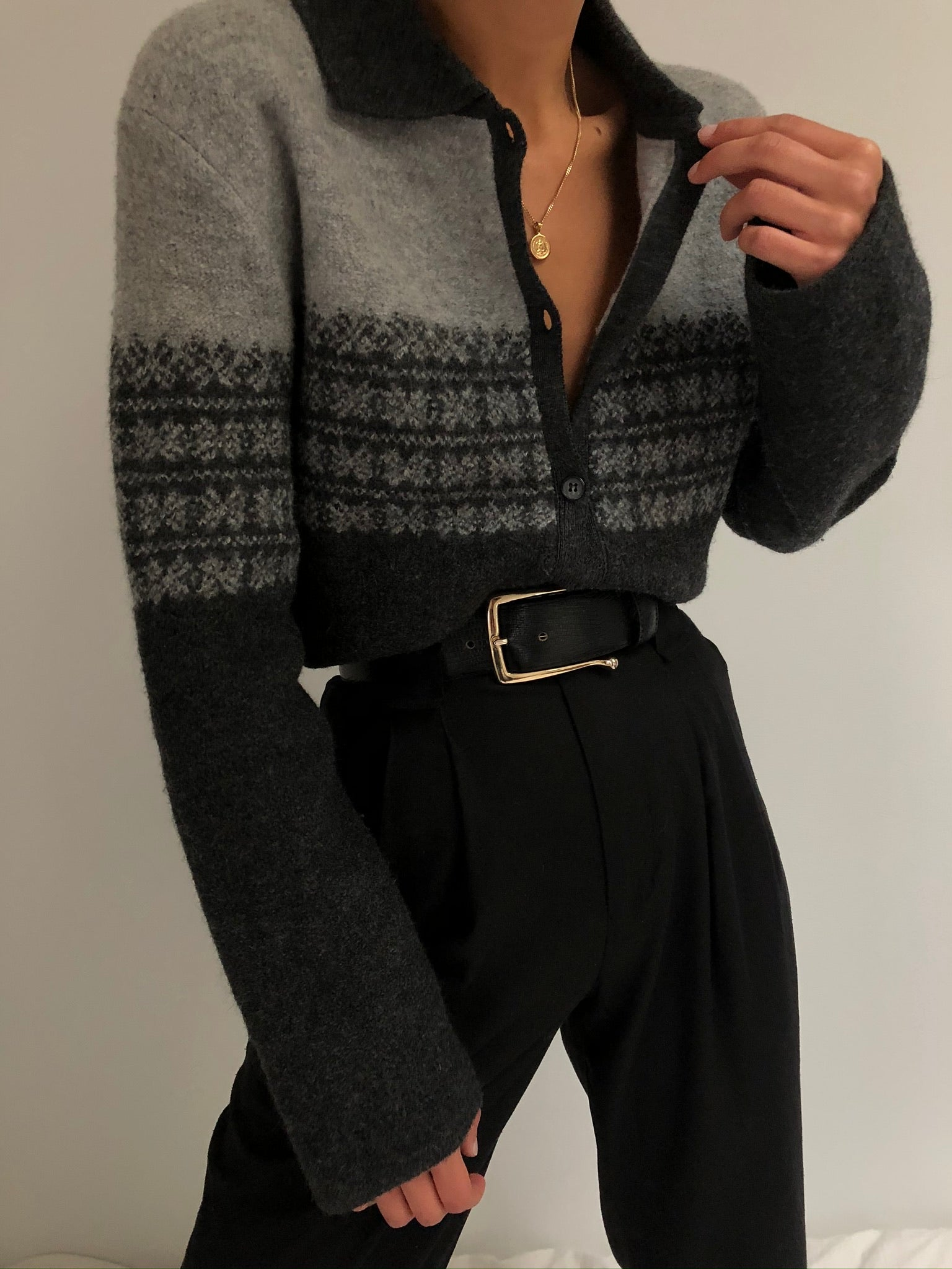 Vintage Wool Collared Cardigan