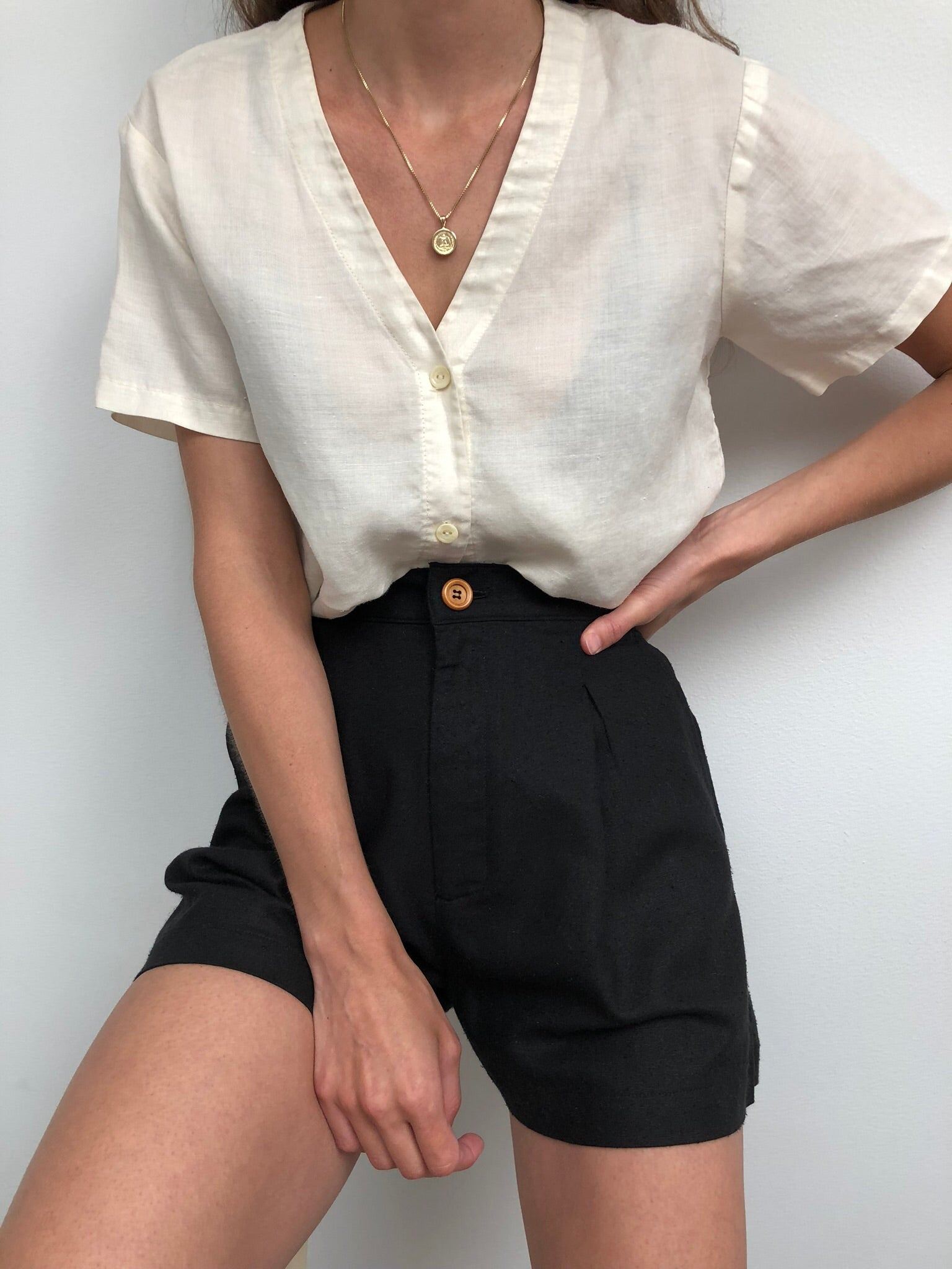 Vintage Cream Button Up Tee