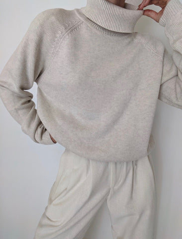 Vintage Oat Knit Turtleneck