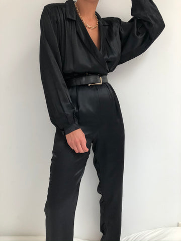 Vintage Tailored Satin Onyx Jumpsuit