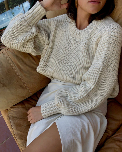 FIRST RITE CROP CREW SWEATER / NATURAL