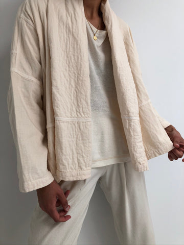 Atelier Delphine Double Cotton Gauze Kimono Jacket / Available in Kinari