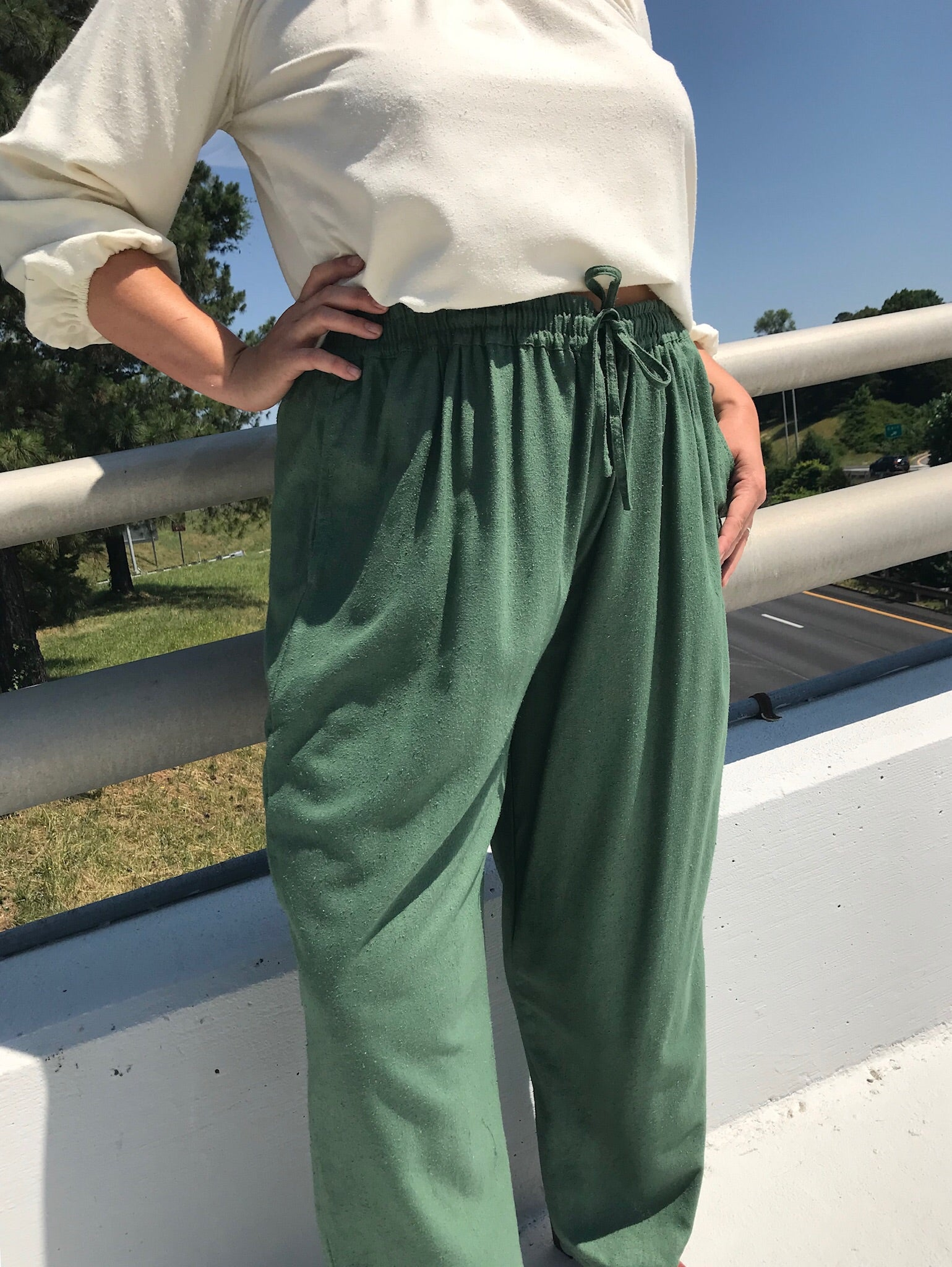 Vintage Olive Raw Silk Easy Pants