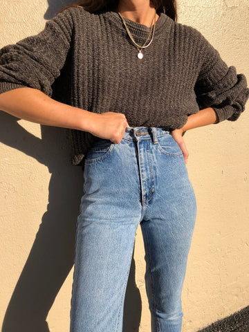 Vintage Chocolate and Sage Textured Knit Pullover