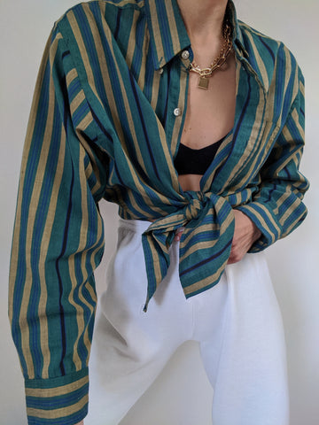 Vintage Forest & Camel Striped Button Up