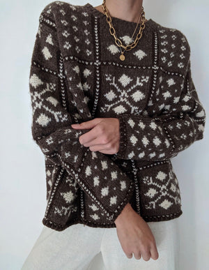 Vintage Cocoa & Cream Wool Sweater
