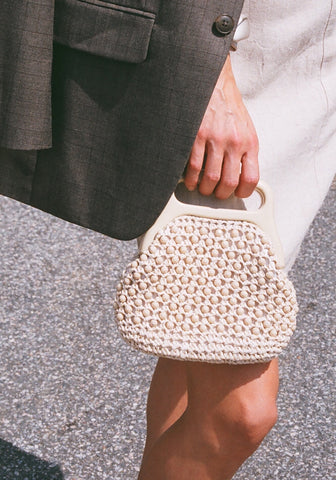 Vintage Oat Beaded Raffia Purse