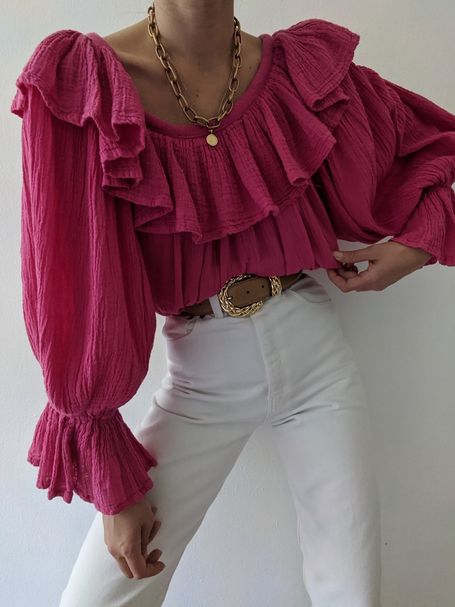 Vintage Flamingo Ruffled Blouse