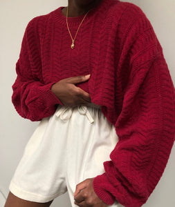 Vintage Crimson Patterned Knit Pullover