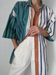 Vintage Bold Striped Button Up