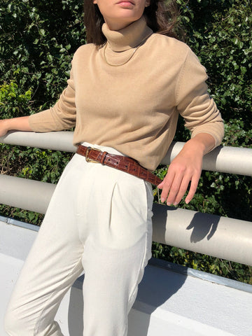 Vintage Sand Silk Knit Turtleneck