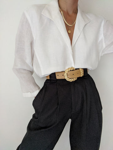 Vintage Classic Ivory Linen Button Up