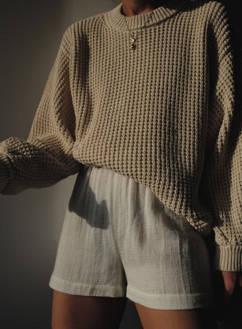 Micaela Greg Waffle Sweater / Available in Salt
