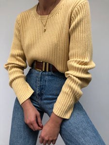 Vintage Butter Ribbed Sweater
