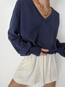 Vintage Faded Navy V-Neck Pullover