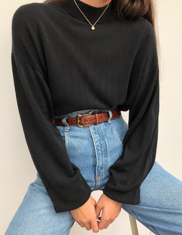 Vintage Faded Black Silk Knit Mock Neck