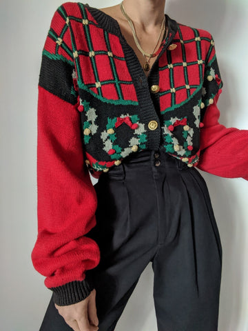 Vintage Holiday Graphic Knit Cardigan