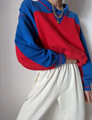 Vintage Favorite Two-Toned Collared Sweatshirt