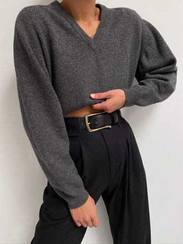 Vintage Charcoal Wool Knit Pullover