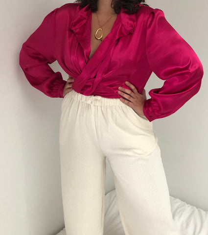 Vintage Fuchsia Liquid Panel Blouse