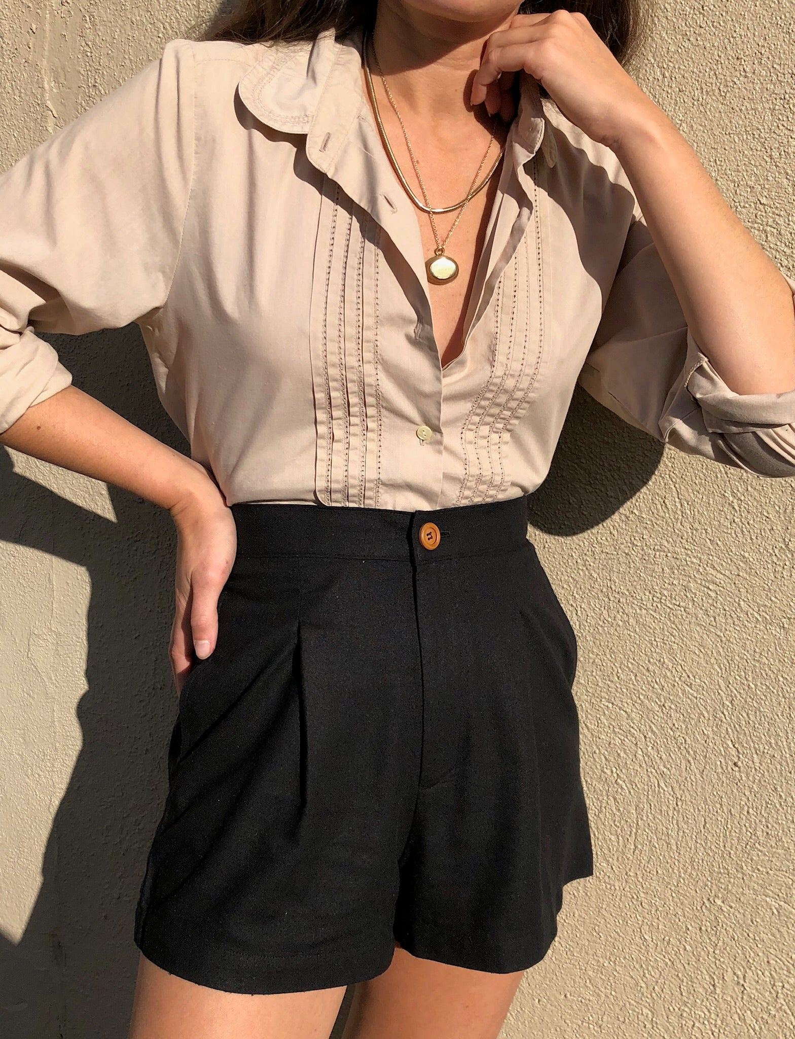 Vintage Thin Ecru Button Up