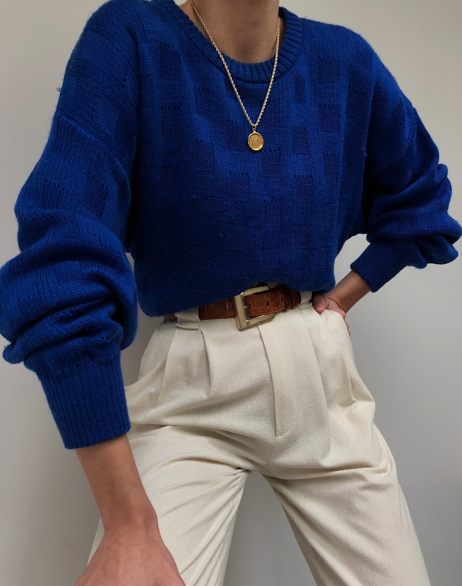 Vintage Soft Blue Wool Sweater